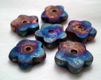 3+ Flower Beads, Raku Beads, Clay Beads, Ceramic Beads, Handmade Beads, Spacer Beads, Rustic Beads, Artisan Beads, Unique Beads (aat)