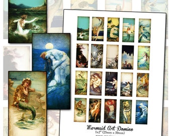 Altered Art Mermaids domino digital collage sheet 1x2 inch 25mm x 50mm INSTANT DOWNLOAD
