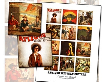 """Antique Western Posters -- 2"""" square digital collage sheet 50mm 2x2"""