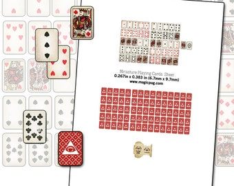 Printable Miniature Dollhouse Playing Cards with box digital collage sheet 1/12 scale props poker for your dolls 1:12 scale