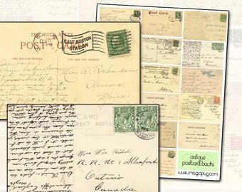 Antique Postcard Backs Digital Collage Sheet ephemera post altered art stamp cancelled stamps mail art postage postal