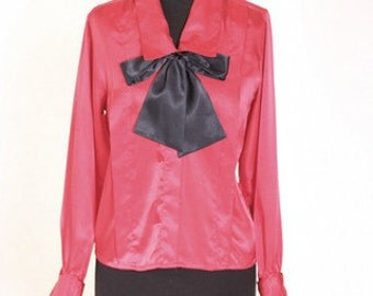 Vintage Vtg 70s 1970s Silk and Black Big Bow Blouse size 2