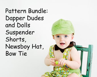 Pattern Bundle: Dapper Dudes and Dolls Suspender Shorts, Newsboy Hat, and Bow Tie PDF Sewing Patterns.