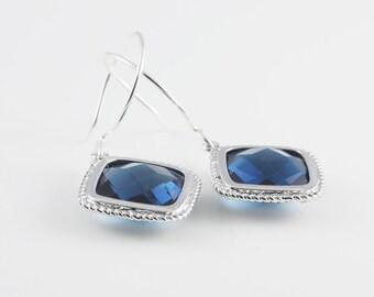 Montana Blue Glass Earrings With A Shiny Silver Tone Frame