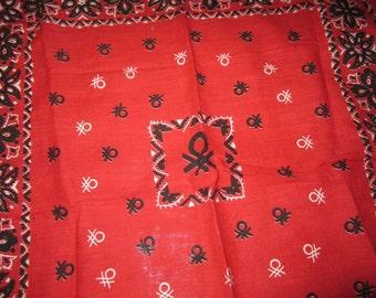 Vintage 1980's Benetton Bandana - Red Black and White Logo Print Cotton Scarf