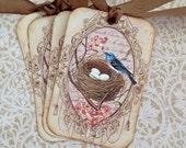 Bird Nest Tags -Bluebird Tags - Nature Tags -  Pink Dogwood flowers - Set of 8