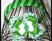 LiliBug Shamrock St Patricks Day Woven Headband and Hairbow Set