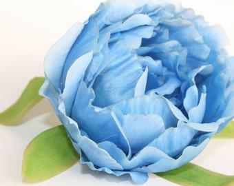 Blue Peony Bud - Artificial Flower, Millinery Flower - ITEM 0729