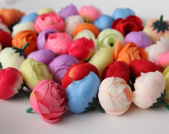 10 MINI Ranunculus in Assorted Colors - silk artificial flower, millinery flower, small flower - ITEM 0702