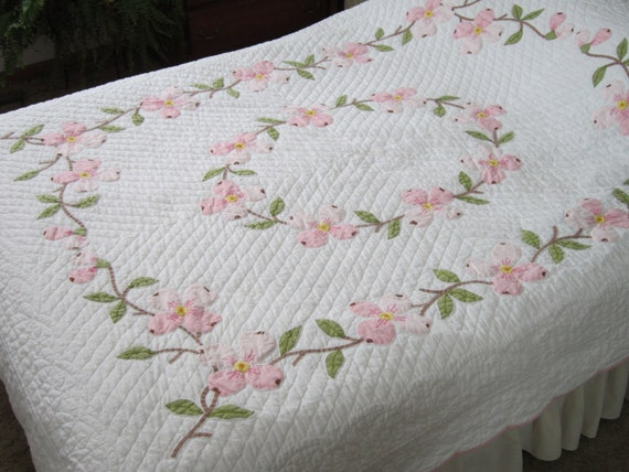 Pink Dogwood Applique Quilt By Rovingsandquilts On Etsy