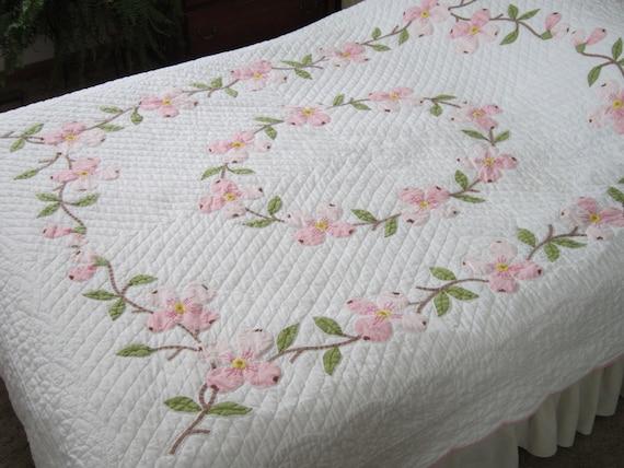 Pink Dogwood Applique Quilt