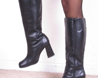 90s Vintage black leather tall zip up chunky stacked heel boots stacked womens sz 7