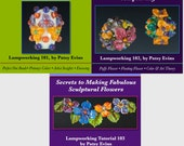 SAVE BIG 3 Glass Lampwork Flower Bead Tutorials Bundle by Patsy Evins