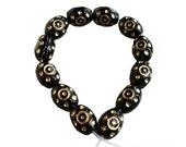 Evil Eye Beads Czech Glass Black w Gold color Inlay