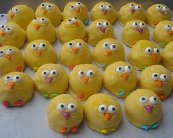 Cake Balls: Baby Chicks. Easter, baby shower favor. 1st birthday. Hostess gift. kids. Candy. Cake pop, cake truffle