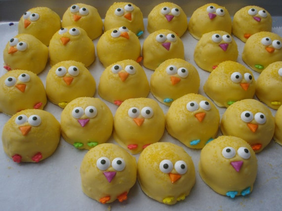 Cake balls chick cake pops easter baby shower favor 1st like this item negle Images