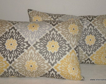 Decorative-Accent-Throw  Set of Two Pillow Covers-Free US Shipping- 12 x 18 Inch Mocha Gray Yellow Cream Tiles