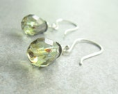 Mossy Green Sterling Silver Earrings  Sage Green Translecent Earth Tones, Gift for Her Jewelry