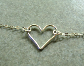 Sterling Silver Heart Necklace  Minimalistic Modern Geometric