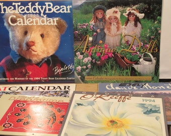 Lot of 8 old calendars for scrapbooking, journaling, altered art, crafts, collage
