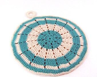 Crochet Potholder, in Aqua Blue and Antique White, Vintage Design