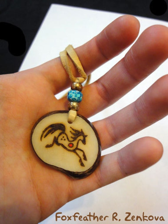 Horse totem necklace tagua pendant handmade glyph jewelry for Native american handmade crafts