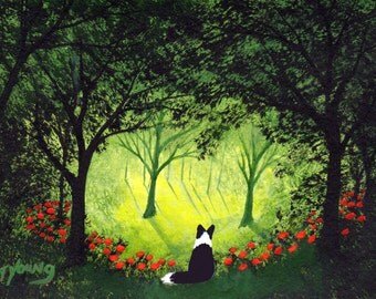 Border Collie Dog ACEO Folk Art PRINT of Todd Young painting