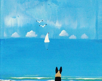 German Shepherd Dog LARGE Folk Art PRINT of Todd Young painting Distant Clouds