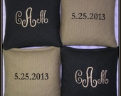 Cornhole Bags Wedding Bean Bag Toss Personalized Black and Tan Set of 8 Bags