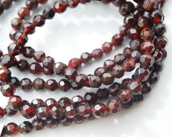 Half Strand, Genuine Garnet Faceted Round Beads, 4MM