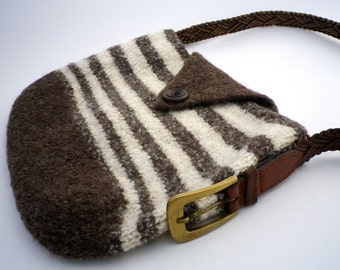 Brown & Tan Striped Felted Purse **FREE SHIPPING (US only)**
