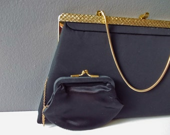 Vintage Clutch Purse, Black Satin Evening Bag with Coin Purse.  Sleek Simple Gold and Black Snap Frame Purse.
