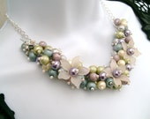 Reserved - Charm Necklace, Hummingbird Charm,  Pearl Beaded Necklace, Floral Necklace, Cluster Necklace, Pastel Colours