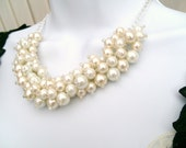 Set of 3 Pearl Beaded Necklaces, Bridal Jewelry, Cluster Necklace, Chunky Necklace, Ivory and White, Bridesmaid Gift, Custom Colours Wedding