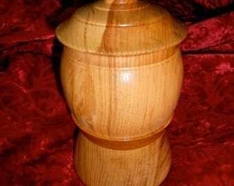 Wood stash jar, Ash wood stash, 'O' ring seal, bottom secret panel, FREE SHIPPING