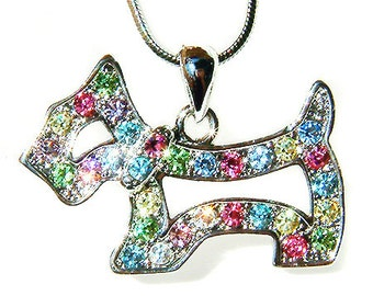 Swarovski Crystal Rainbow Scottie Dog WESTIE SCOTTISH Pendant Chain Necklace Christmas Best Friend Gift New