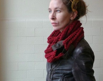 red double wrap cowl / scarf with leather straps