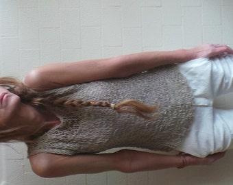 vest, beige vest, Neutral cotton mix summer tank beige vest open weave tank womens tank