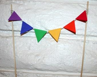 Rainbow Flag Bunting Cake Topper Decoration