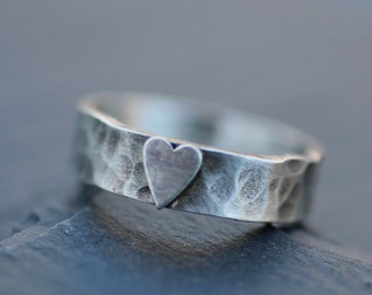 Hammered Heart Ring in Sterling Silver