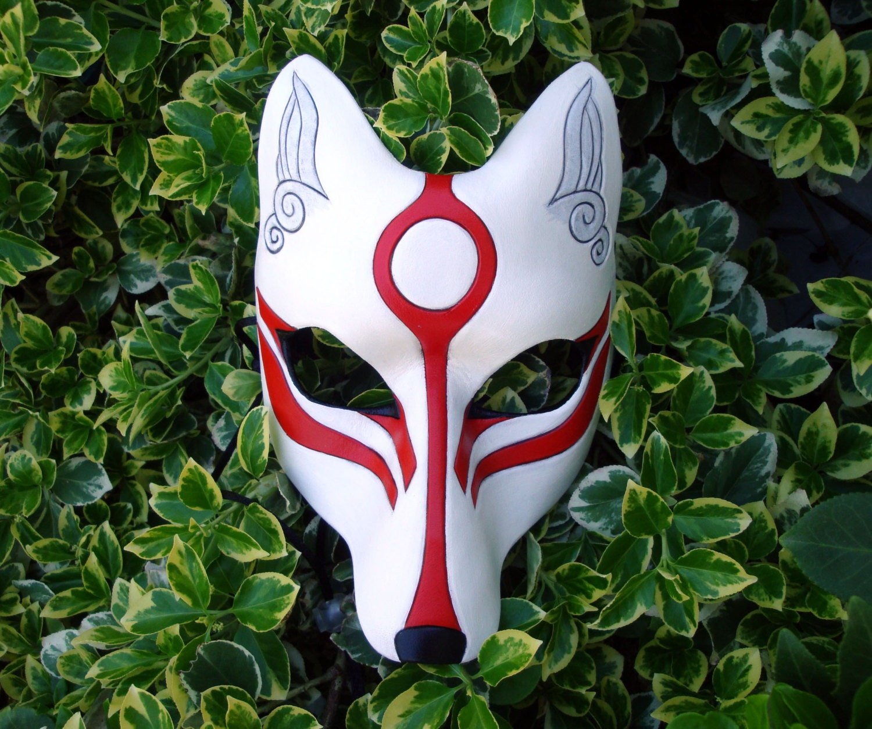 white okami kitsune mask japanese fox leather mask. Black Bedroom Furniture Sets. Home Design Ideas