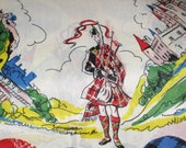 RESERVED - Silky Satin Fabric - Scotland - Scottish Clans - Bagpipes - Piper