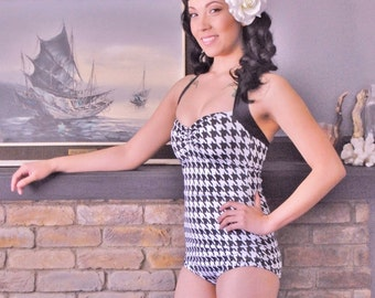Black and White Houndstooth retro One piece swimsuit sizes xs- xl made to order