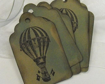 Hot Air Balloon Stamped Tags Gifts packaging Scrapbooking Paper Piecing 6 count Carnival Circus Wizard of OZ Inspired