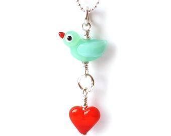 Love Bird blue necklace