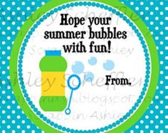 Instant Download. Diy. Printable. Favor Tag. Tag. Bubble. Summer. End of school. Blue. Teacher Gift. Bubble Favors.