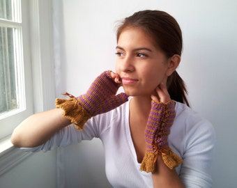 Handknit Fingerless Gloves in Lilac and Mustard Stripes. Teens. Girls. Womens.