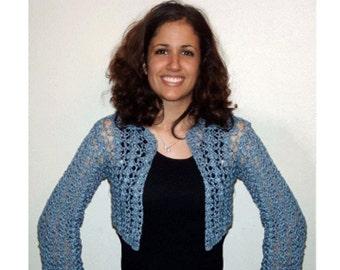 Blue Shell Long Sleeve Cropped Cardigan Shrug Crochet Pattern pdf