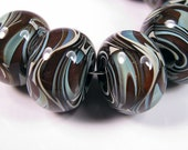 Lampwork Glass beads - BBGLASSART - Lampwork Boro Beads, Chocolate Swirl Prisms