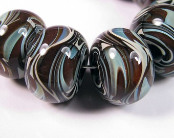 Lampwork Glass beads - BBGLASSART - Lampwork Boro Beads, Chocolate Swirl Prisms